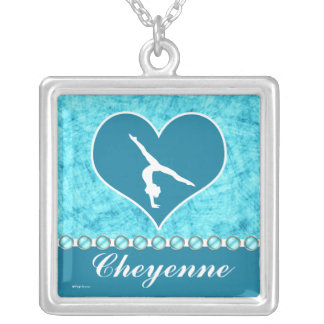 Personalized Beautiful Turquoise Gymnastics Silver Plated Necklace