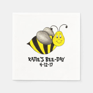 Personalized Bee Day Bees Bumblebee Birthday Party Paper Serviettes