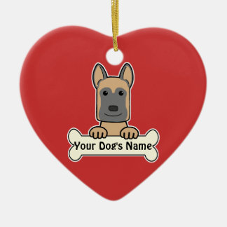Personalized Belgian Malinois Ceramic Heart Decoration