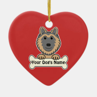 Personalized Belgian Tervuren Ceramic Heart Decoration