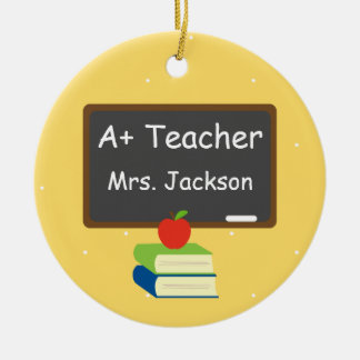 Personalized Best Teacher Chalkboard Double-Sided Ceramic Round Christmas Ornament