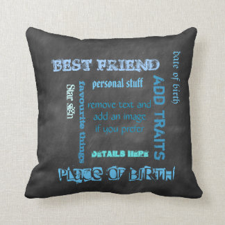 Personalized BFF best friends wordcloud chalkboard Cushion