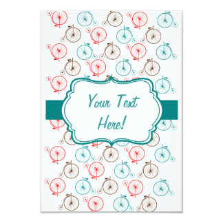 Personalized Bicycle Card 9 Cm X 13 Cm Invitation Card