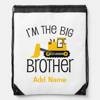 Personalized Big Brother Construction Front Loader Drawstring Bag