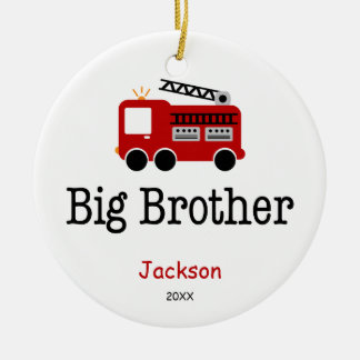 Personalized Big Brother Red Fire Truck Round Ceramic Decoration