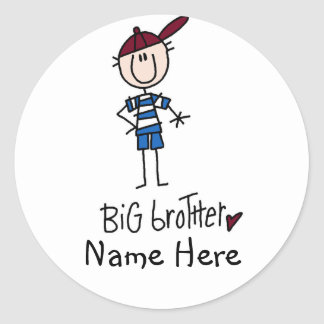 Personalized Big Brother Tshirts and Gifts Classic Round Sticker