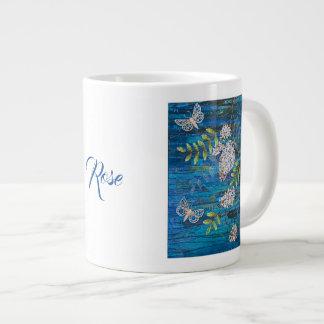 Personalized Big Coffee Mug with Moths & Flowers