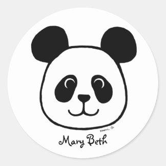 Personalized Big Face Panda Cartoon Round Sticker