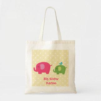 Personalized Big Sister Elephants Tote Bag