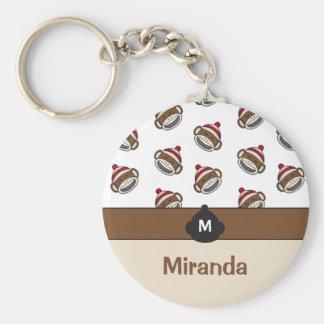 Personalized Big Smile Sock Monkey Emoji Key Ring