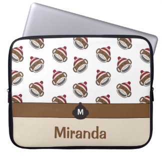 Personalized Big Smile Sock Monkey Emoji Laptop Sleeve