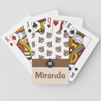 Personalized Big Smile Sock Monkey Emoji Playing Cards