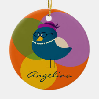 Personalized Bird Female Cute Lady Funny Turquoise Christmas Ornament
