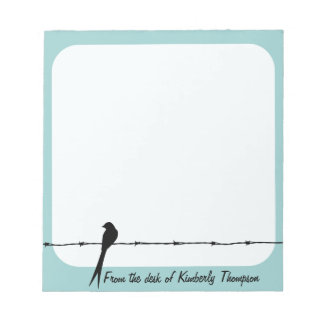 Personalized Bird On Barbed Wire Notepad