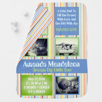 Personalized birth announcement baby pramblankets