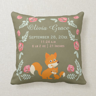 Personalized Birth New Baby Fox And Roses Throw Pillow