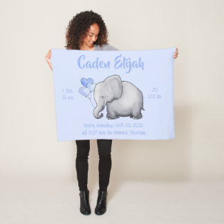 Personalized Birth Stats Baby Elephants Nursery Fleece Blanket