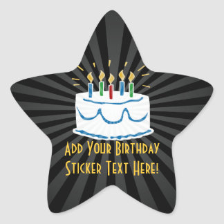Personalized Birthday Cake Star Favor Sticker