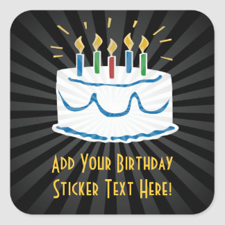 Personalized Birthday Cake Sticker or Favor Label