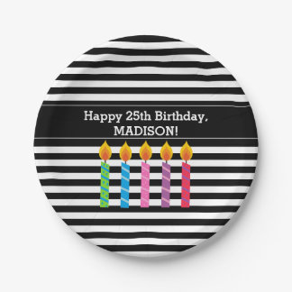 Personalized Birthday Candles Paper Plates