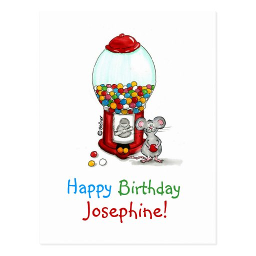 Personalized Birthday Card - Cute Gumball Design Post Cards