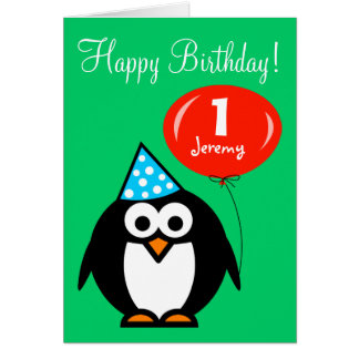 Personalized Birthday card | Penguin with balloon