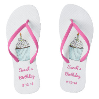 Personalized Birthday Party Cake Cupcake Flip Flop Flip Flops