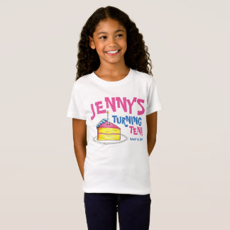 Personalized Birthday Party Favor Pink Cake Slice T-Shirt