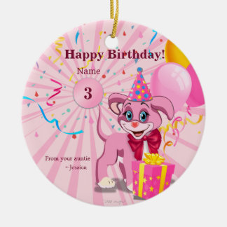 Personalized Birthday Puppy Cartoon Christmas Ornament