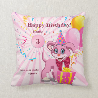 Personalized Birthday Puppy Cartoon Cushion