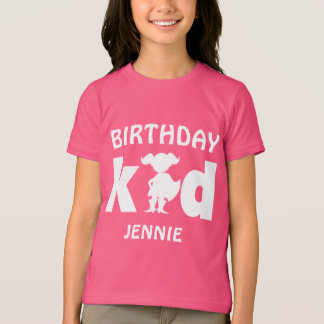 Personalized Birthday Superhero Girl Silhouette T-Shirt