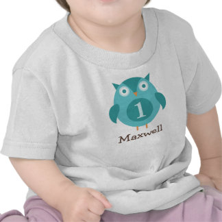 Personalized Birthday T-Shirt Blue Owl