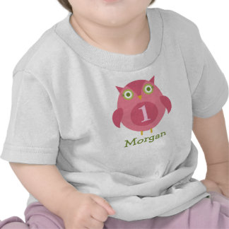 Personalized Birthday T-Shirt Pink Owl