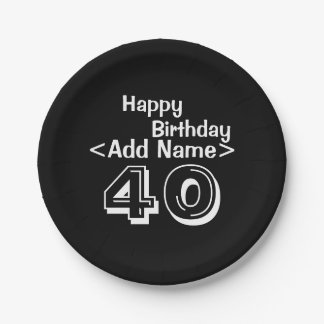 """Personalized Black 40th Birthday 7"""" Paper Plates"""
