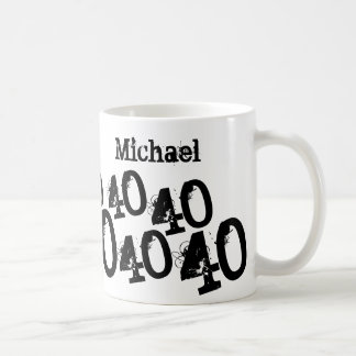 Personalized Black 40th Birthday Basic White Mug