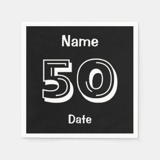 Personalized Black 50th Birthday Party Standard Cocktail Napkin