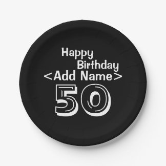 Personalized Black 50th Birthday 7 Inch Paper Plate