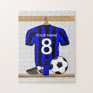 Personalized Black and Blue Football Soccer Jersey Jigsaw Puzzle