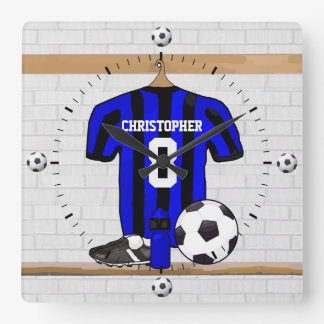 Personalized Black and Blue Football Soccer Jersey Wall Clocks
