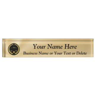Personalized Black and Gold Attorney Name Plate