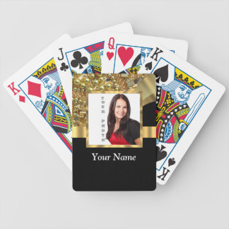 Personalized black and gold bicycle playing cards