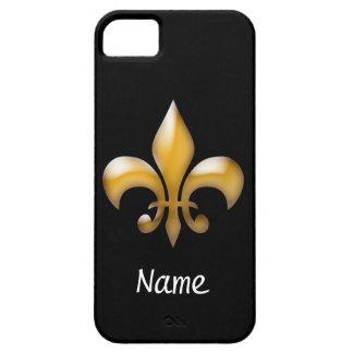 Personalized Black and Gold Fleur de Lis iPhone 5 Case