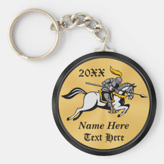 Personalized Black and Gold Knight Gifts Keychains
