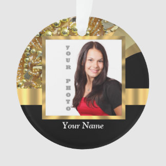 Personalized black and gold ornament