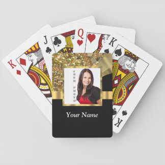 Personalized black and gold playing cards