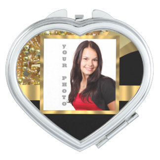 Personalized black and gold travel mirror