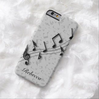 Personalized Black and Gray Musical Notes Barely There iPhone 6 Case