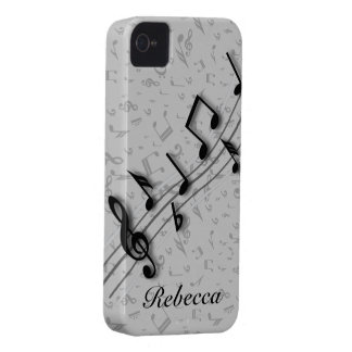 Personalized black and gray musical notes Case-Mate iPhone 4 cases