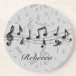 Personalized black and gray musical notes drink coaster