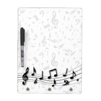 Personalized black and gray musical notes dry erase board